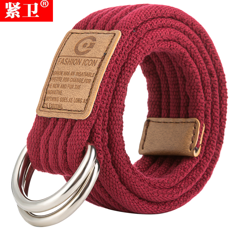Tight guard double loop buckle canvas belt belt wild couple of men and women weave canvas belt tide of young students
