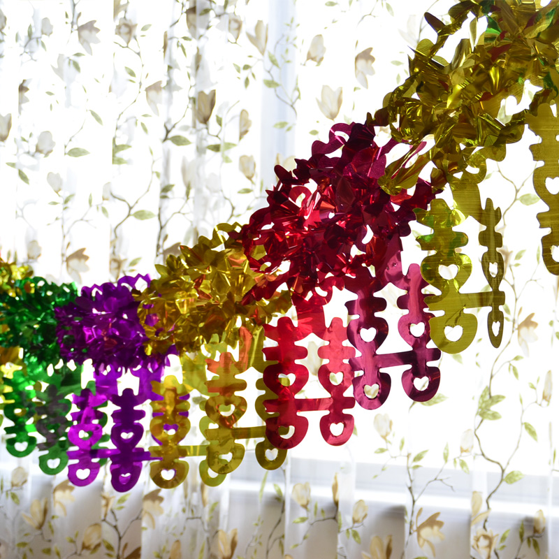 Tim cheung edge colored garland arranged marriage wedding wedding hi word marriage room decoration supplies plastic paper creative props