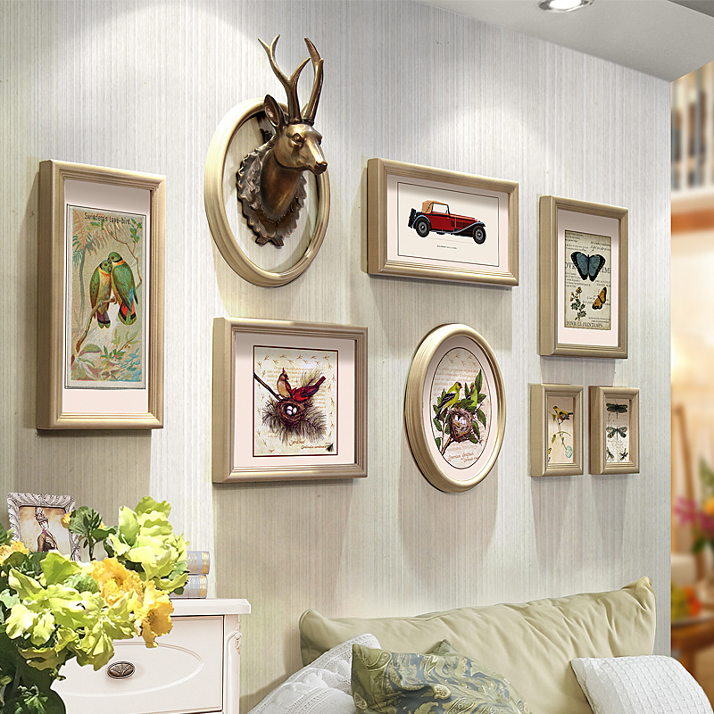 Tim color painting photo wall photo frame wall combination of creative nordic deer small wall photo wall restaurant aisle