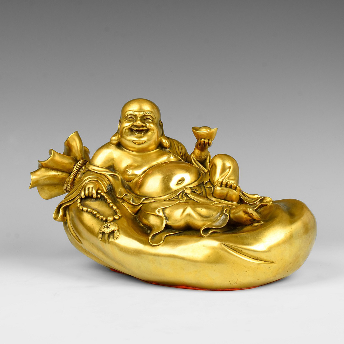Times talented pure copper gold bag laughing buddha maitreya buddha ornaments lucky feng shui living room den home decorations