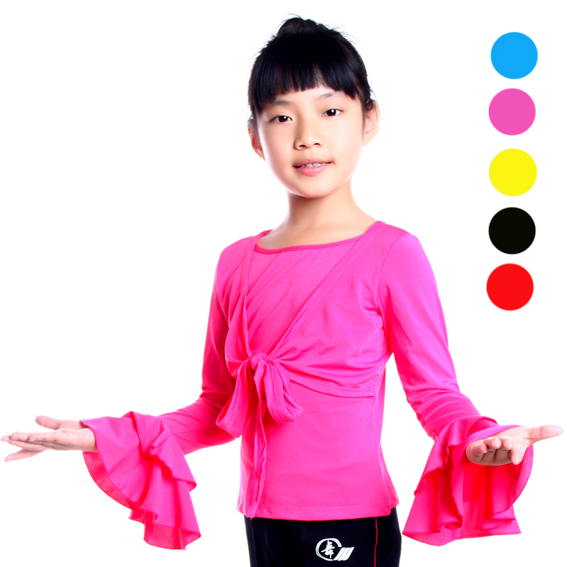 Tina dancing girls dance clothes and children's dance clothing long sleeve round neck t-shirt children's dance latin dance tops