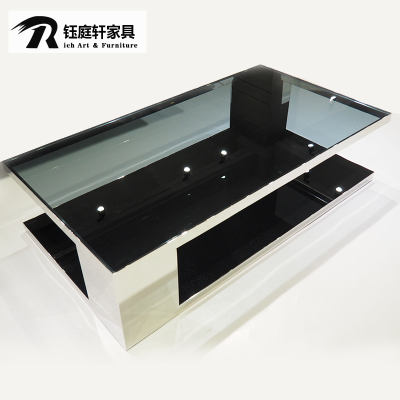 Ting yu xuan furniture stainless steel tempered glass coffee table modern minimalist small apartment rectangular coffee table tea table a few
