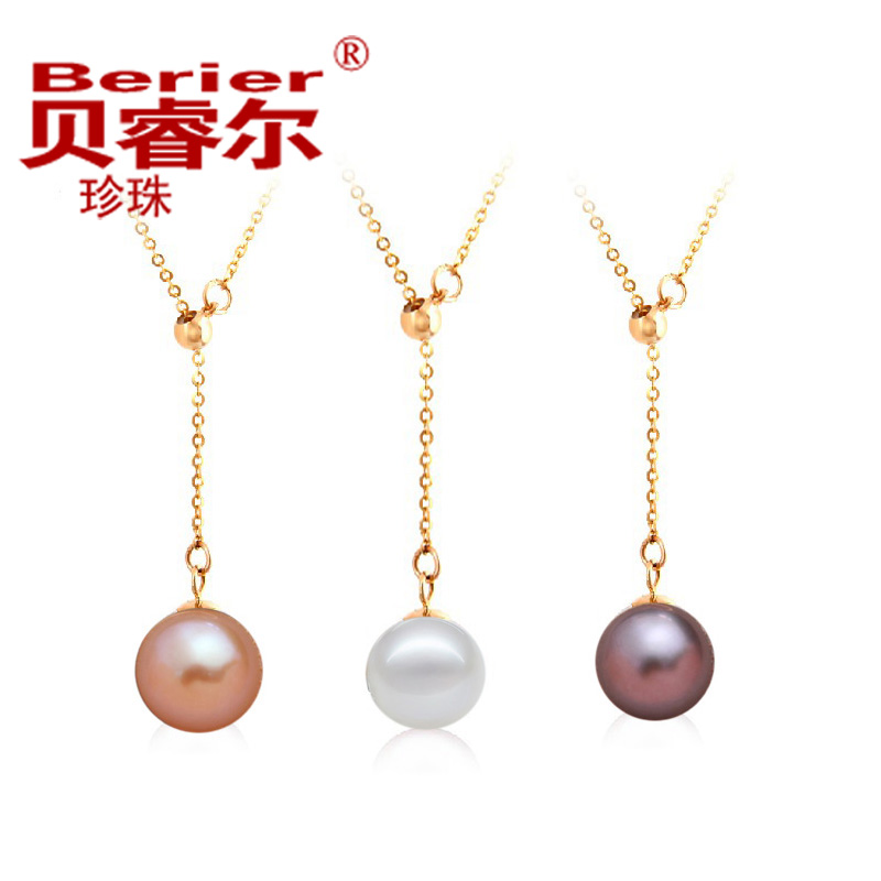 To send his girlfriend a variety of wear tassels glare flawless natural pearl pendant necklace 925 silver plated gold