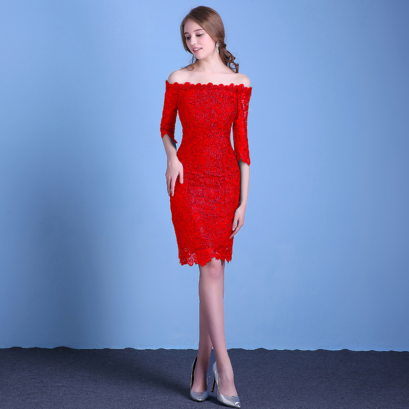 Toast the bride dress 2016 new fashion wedding word shoulder fishtail dress banquet evening dress short paragraph bag hip red female