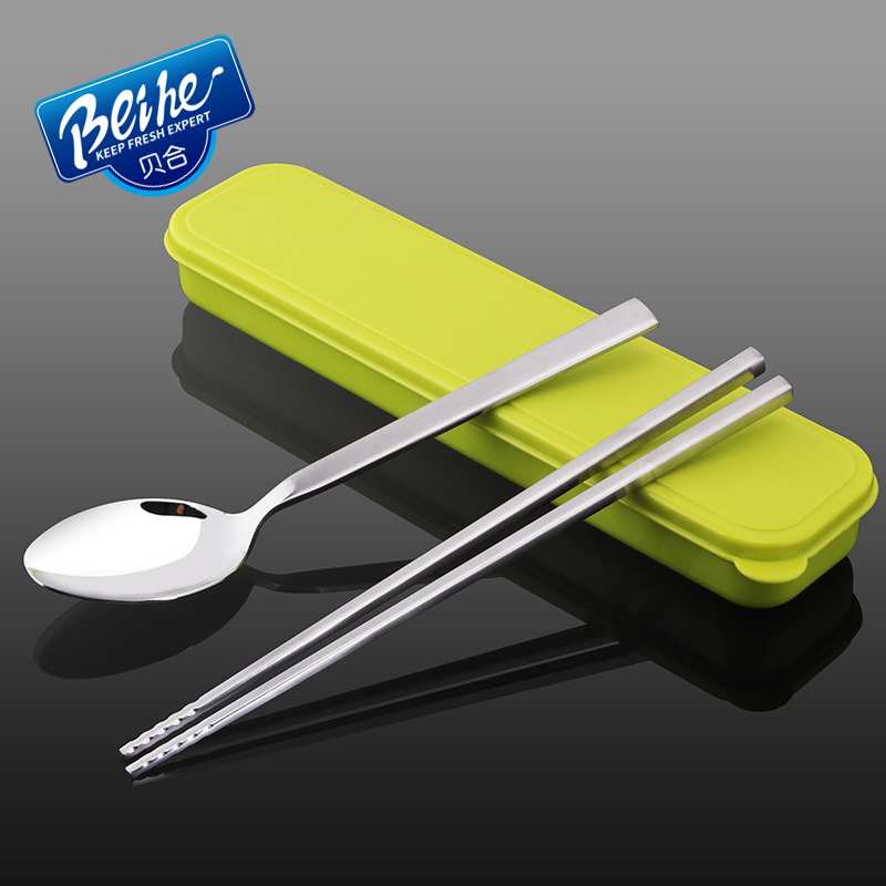 Tony co 304 portable stainless steel tableware creative gift boxes student travel chopsticks spoon skillet 3 set