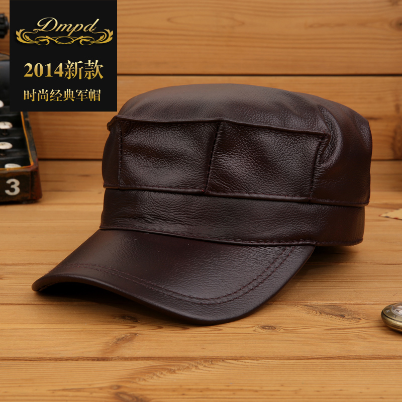 Top grade cowhide leather hat elderly men outdoor winter warm thick winter hat male ear illiciaceae