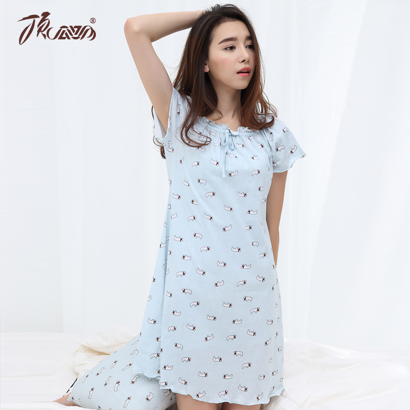 Get Quotations · Top guagua cotton pajamas female summer cotton nightdress  ms. short sleeve nightdress woman sleeping clothes 96ba5dc19