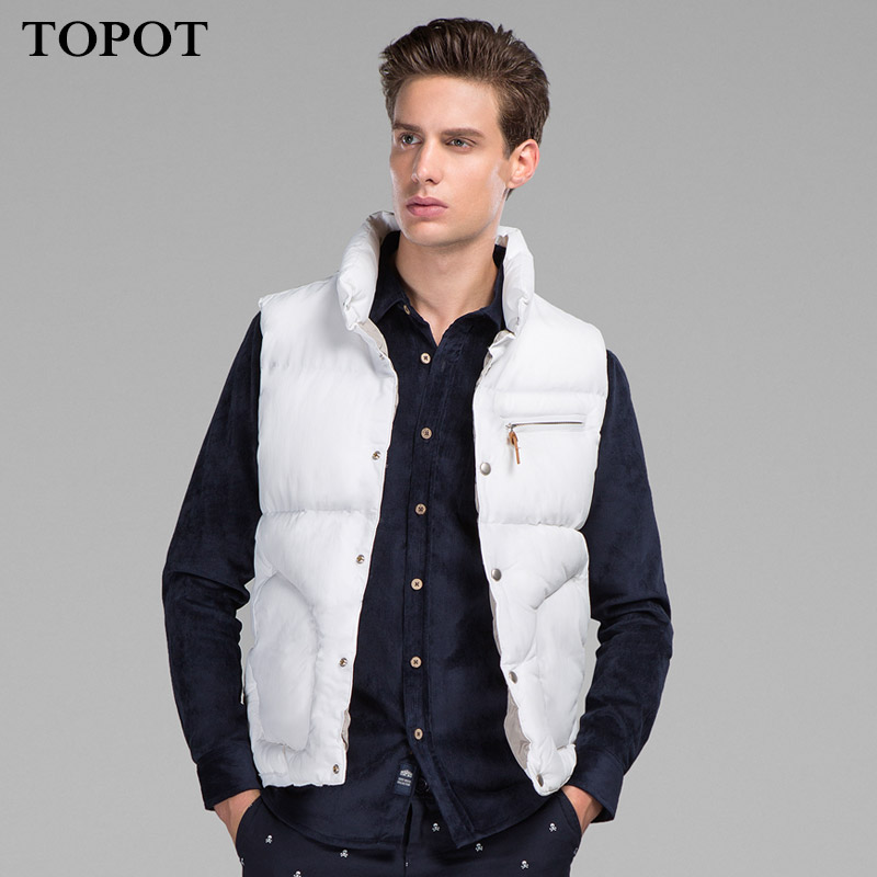 Topot 2015 autumn and winter warm thick collar casual cotton vest men korean slim vest vest men