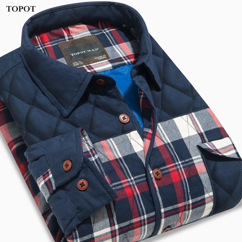 Topot2015 new autumn and winter men's long sleeve plaid stitching men's warm shirt plus thick cotton shirt