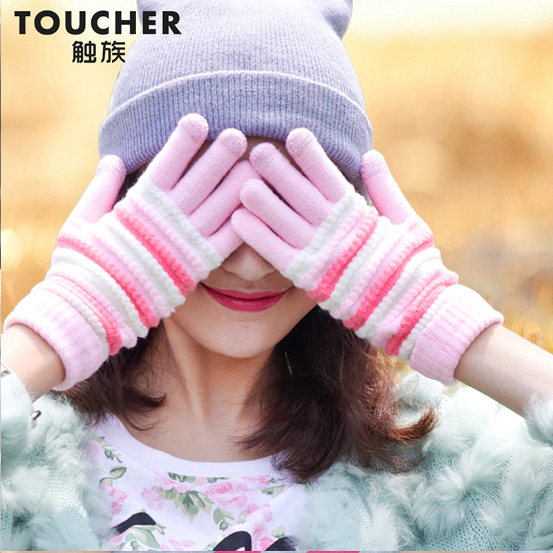 daeef6650 Get Quotations · Touch ethnic korean female winter wool gloves knitted  gloves knitted gloves thick warm female students cute
