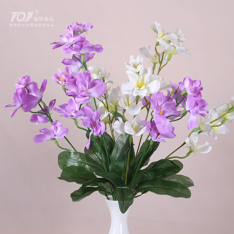 Tqj european artificial flowers artificial flowers living room bedroom dining room furnishings decorative artificial flowers artificial flowers silk flower color in the spring of 5 fork freesia