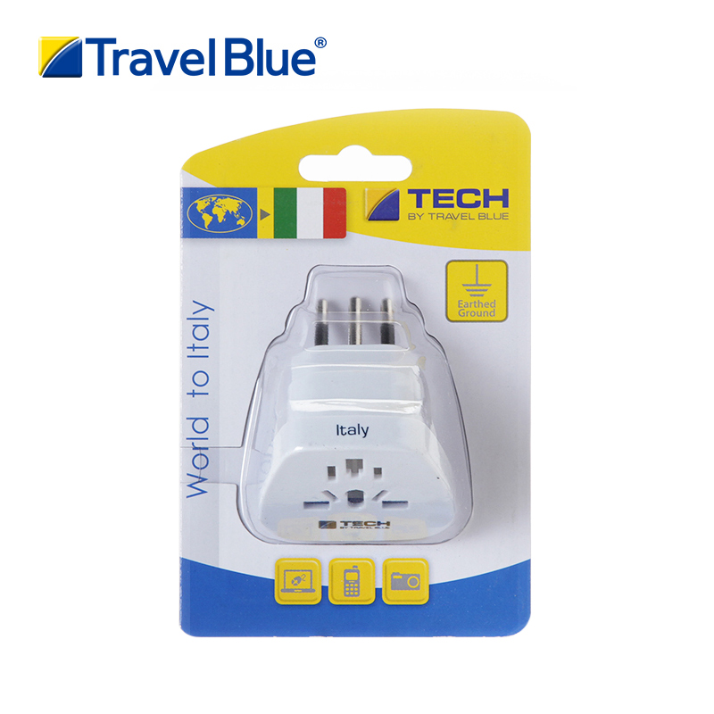 Travelblue/blue brigade of the syrian chile italy italian standard conversion socket adapter plug to travel abroad