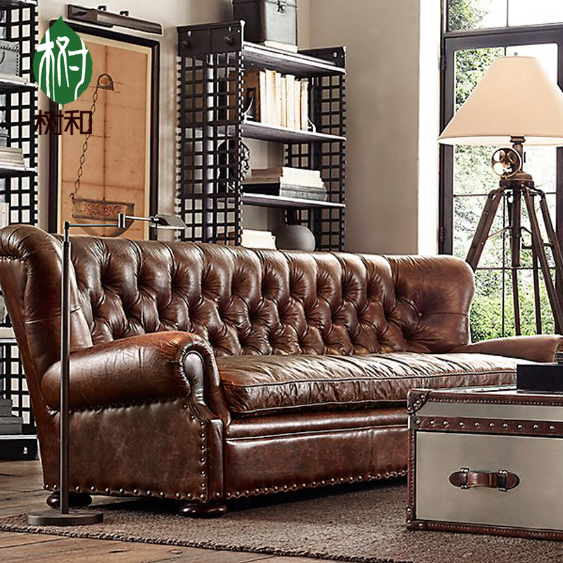 Buy Full leather imported oil wax leather sofa classical ...