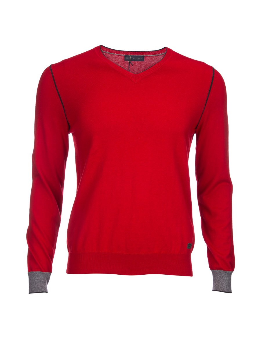 Tru trussardi big red v-neck t-shirt stitching design