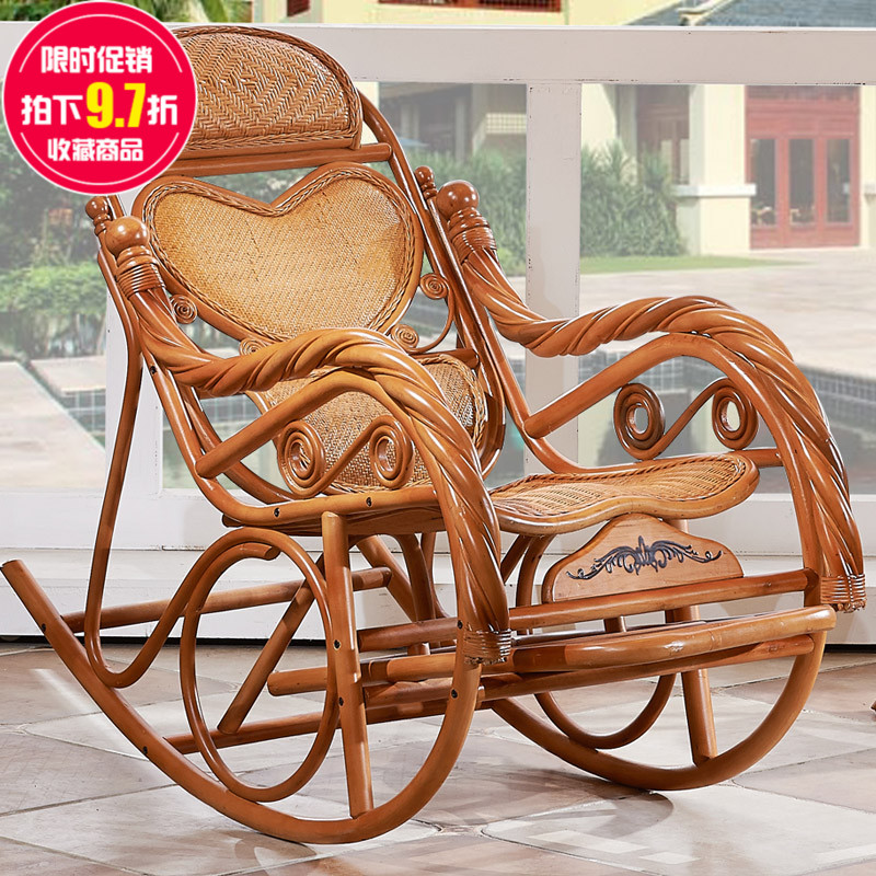 True natural rattan rocking chair lounge chair recliner chair happy old man shook his chair sofa chair balcony lazy siesta couch