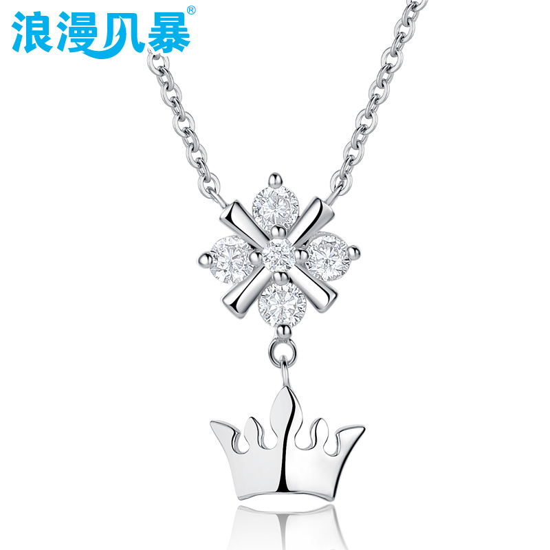 True romance 925 silver cross pendant necklace korean version of the crown crown micro inlay diamond jewelry free shipping