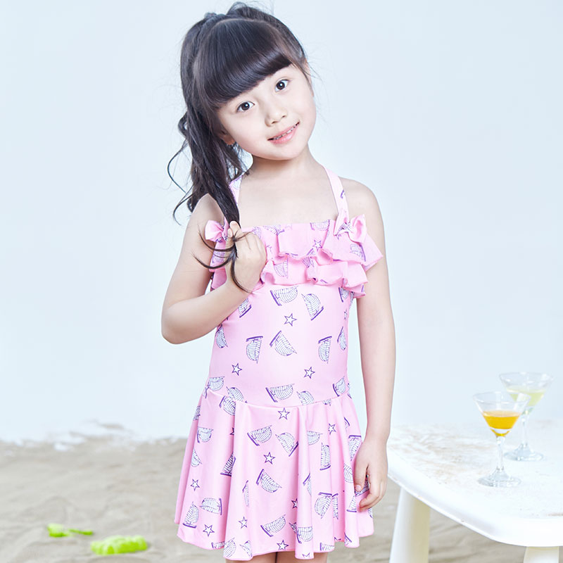 46c371b85b Get Quotations · Trumpeter new parenting children swimwear piece swimsuit  girls big virgin small children siamese skirt style swimwear