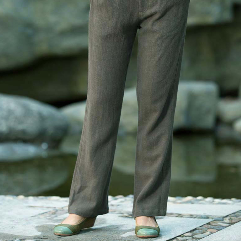 Tsz edge blindly---zen tea service serving japanese thick washed pure linen long pants 20538