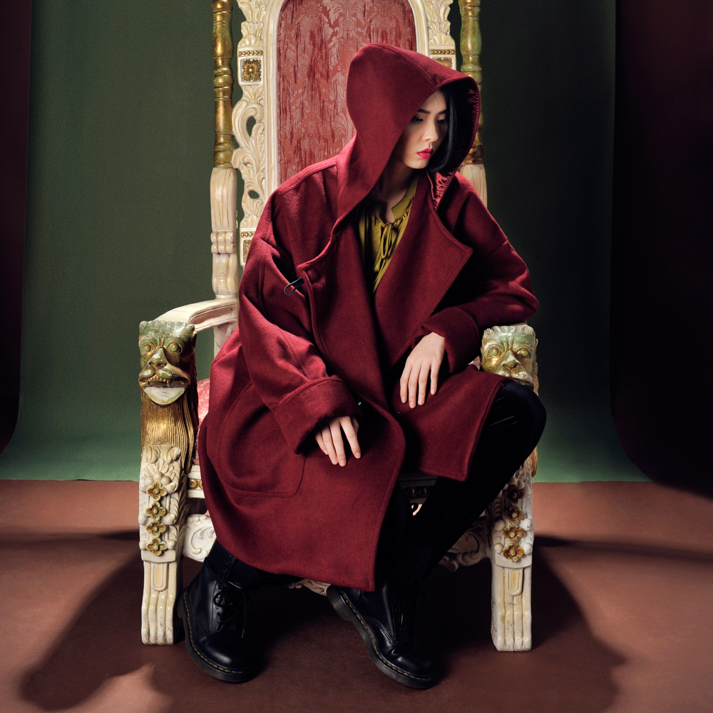 Get Quotations · Tu fall and winter retro sided wool woolen coat girls long  paragraph loose hooded cloak warm 4fe845f73