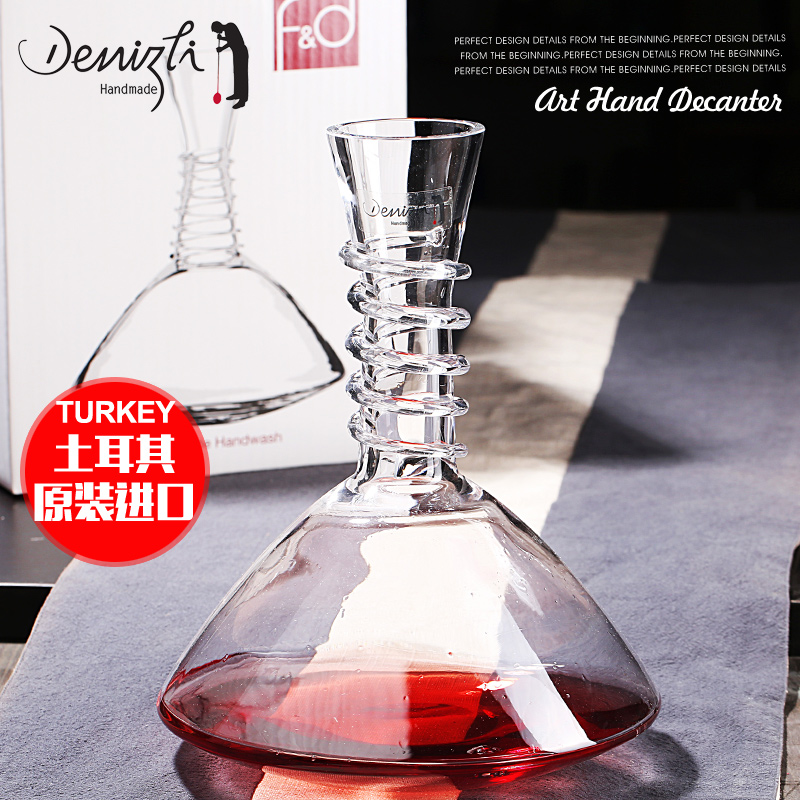 Turkey imported fd unleaded crystal glass handmade spiral bevel decanters points flagon wine pourer