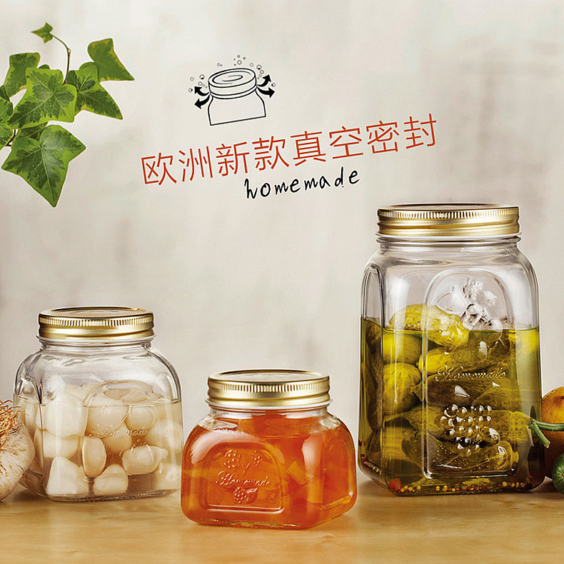 Turkey imported glass bottles sealed cans storage cans bottles of honey lemon foam tanks canister milk cans candy jar