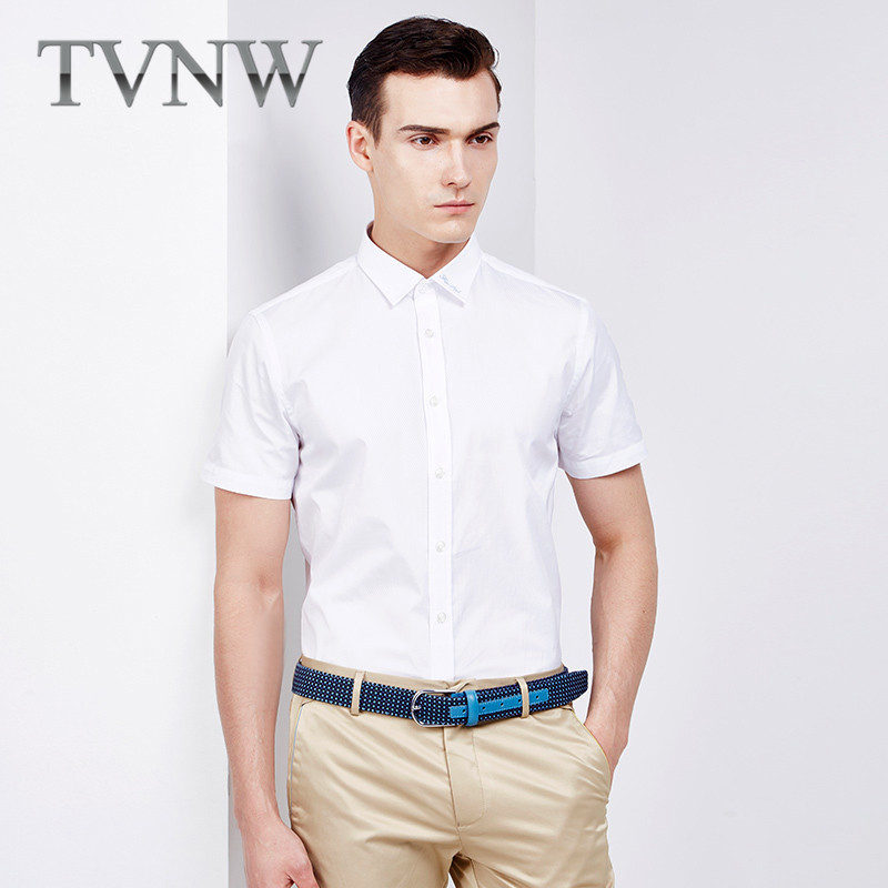 4905b233ad8e Get Quotations · Tvnw 2016 summer new business casual men s shirts men s  shirts short sleeve slim career lining 6909