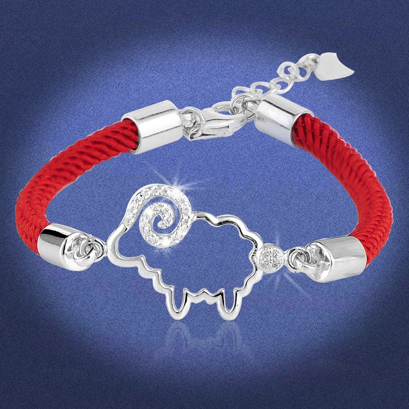 Twelve lunar new year of the ram natal red string bracelet 925 silver braided red string bracelet silver jewelry female models