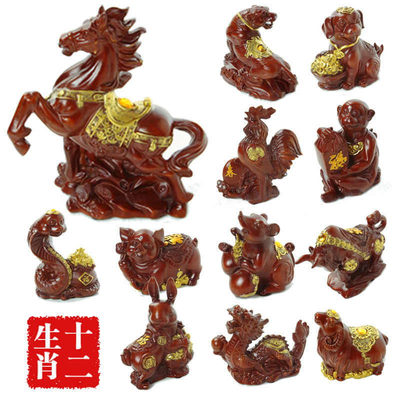 Twelve zodiac full set of ornaments rat ox tiger rabbit snakes pig horse sheep pig monkey jigou 12 natal years Wedding birthday gift