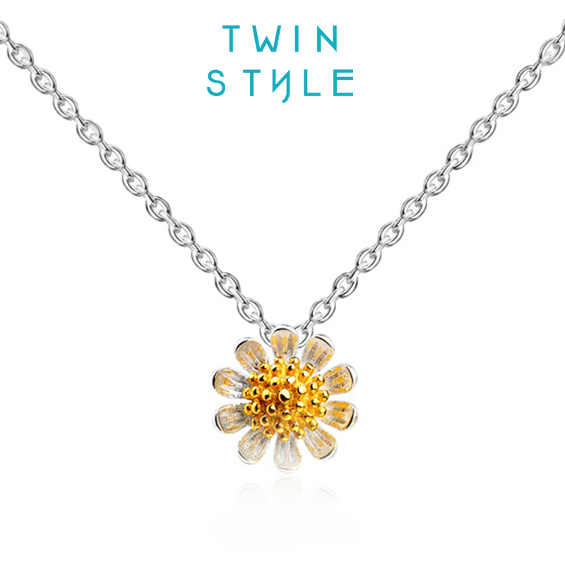 Twinstyle small daisy flower necklace female clavicle chain 925 silver pendants sunflowers with ornaments suit short korea