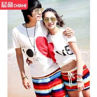 Two shipping bali seaside resort essential male and female couple beach pants beach lovers t-shirt shorts