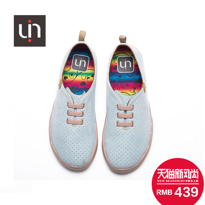 Uin painted shoesè«è¾göttlicher 2016 new summer female models of color flat casual shoes breathable microfiber
