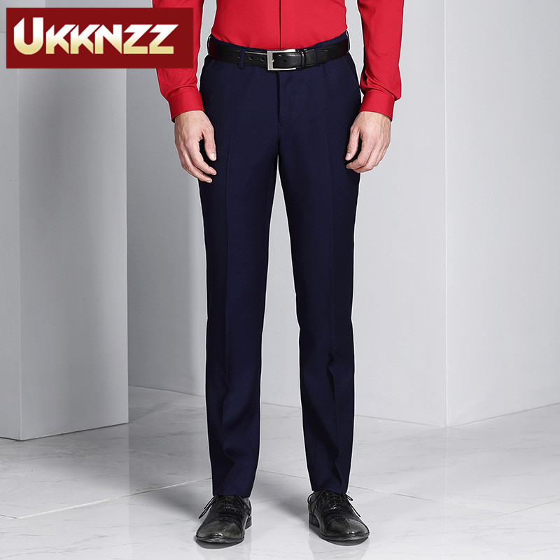 Ukknzz custom 2016 spring and summer new blue men's business suits trousers slim wool trousers