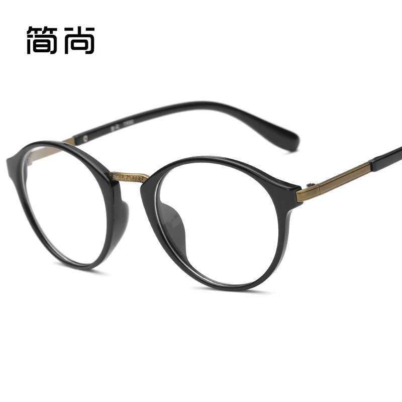 Ultralight tr90 literary retro round plain glass spectacles frame glasses men and women finished with myopia mirror korean version of the influx of