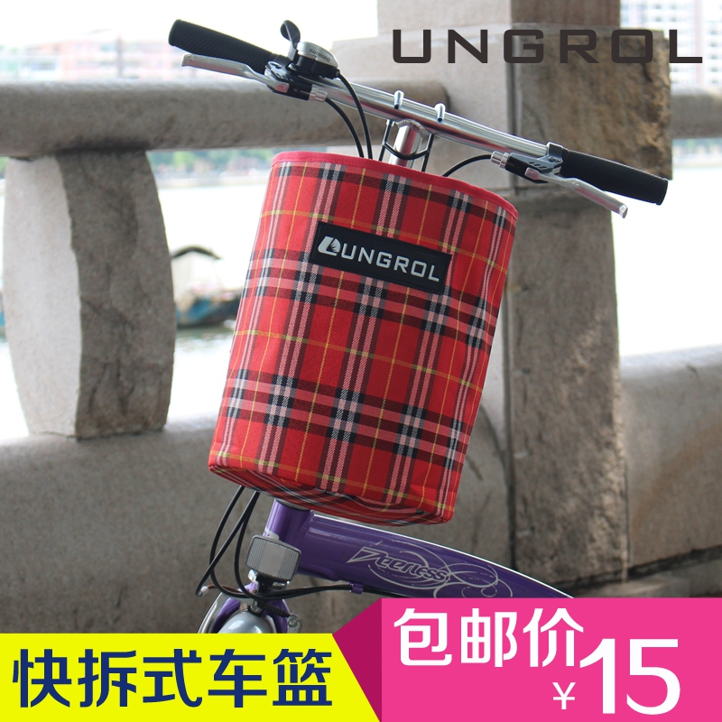 Ungrol bike folding bicycle basket bicycle basket canvas car basket bicycle accessories and equipment free shipping