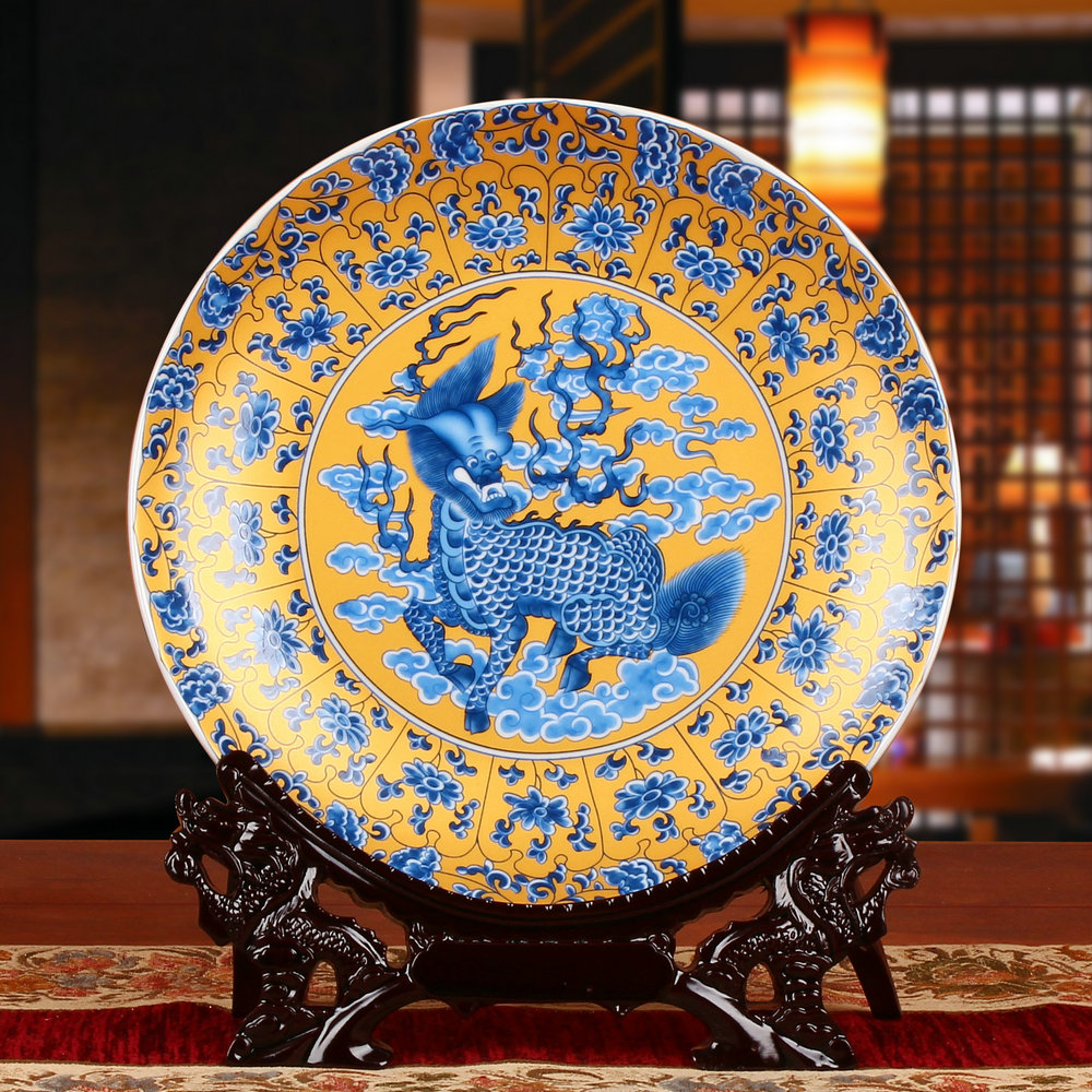 Unicorn animal flower golden plate hanging plate jingdezhen ceramics modern home decoration crafts furnishings