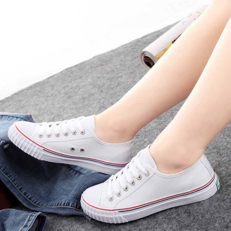 Universal summer to help low canvas shoes female korean version of casual shoes lace flat shoes to help low shoes breathable minimalist