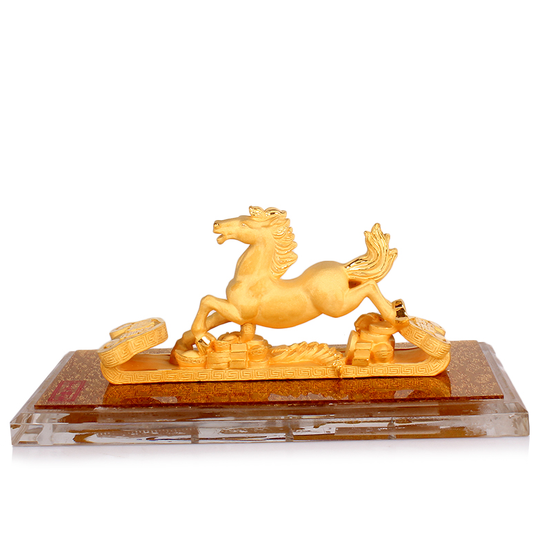 Upscale cast gold alluvial gold velvet gift horse ornaments immediately fortune zodiac year of the horse mascot horse crafts home furnishings