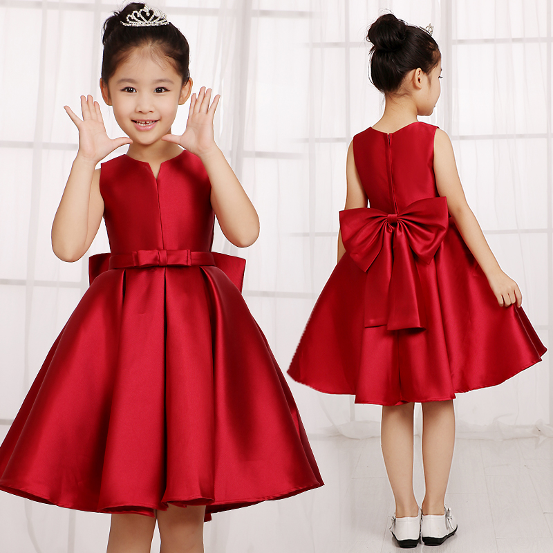 Upscale children's princess dress tutu dress girls big boy summer baby burgundy evening dress moderator childrenwear