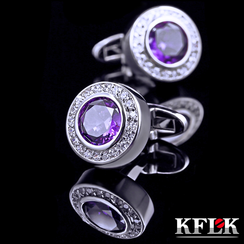 Upscale gift box kflk rhodium cufflinks french shirt cufflinks male french shirt luxury purple zircon cufflinks pintle