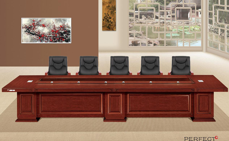 Upscale office furniture 6 m paint veneer conference table and chairs office conference table meeting table HYZ-001