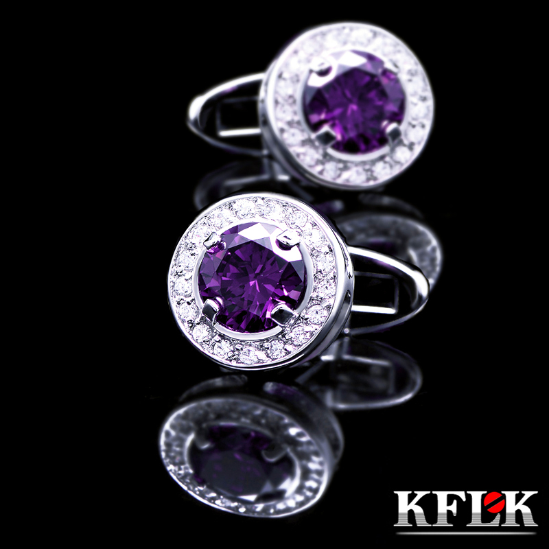 Upscale small gift box kflk rhodium cufflinks french shirt cufflinks male french luxury ms. china purple zircon cufflinks