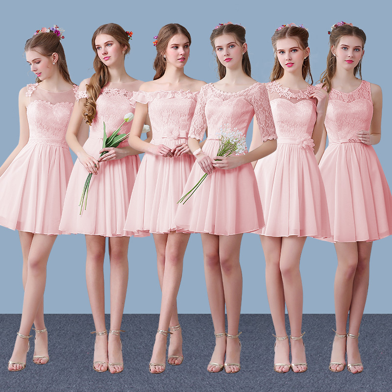 Us curtain us curtain 2016 spring and summer new pink chiffon bridesmaid dress sister group bridesmaid dress sister skirt LF116