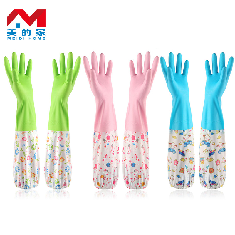 Us home kitchen dishwashing gloves plus velvet glove extended housework thick rubber latex gloves laundry durable