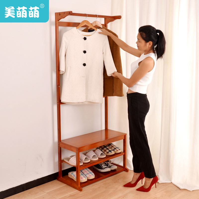 Us meng meng even changing his shoes stool bamboo wood coat rack floor bedroom closet clothes rack hanger creative fashion clothes rack