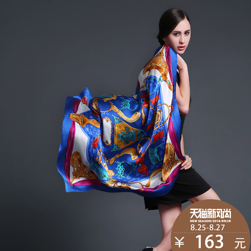 Us rui taman female silk scarf large square silk scarf female wild autumn and winter 100% mulberry silk pure silk scarves