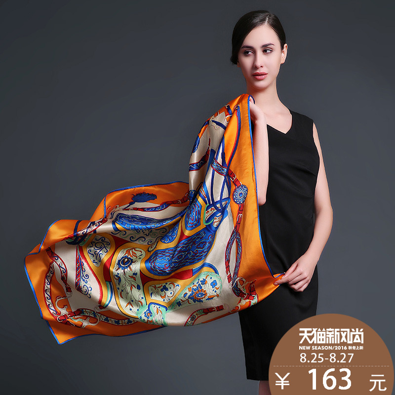 Us rui taman pure silk large square scarf female autumn and winter silk scarf silk scarf silk towel sunscreen shawl
