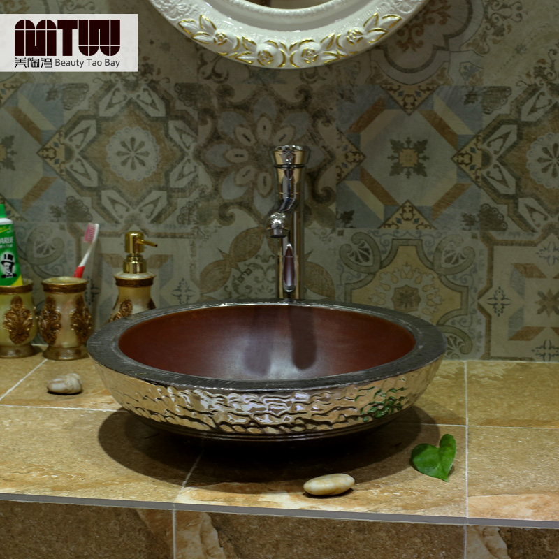 Us tao bay genuine counter basin vanity wash basin wash basin wash basin ceramic basin gilded silver european style imitation workers Art basin