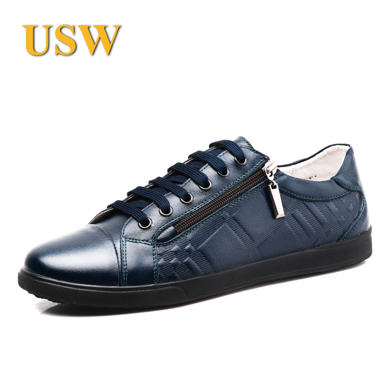 Usw custom spring and summer new men's casual leather men's leather lace shoes male british men's shoes tide shoes casual shoes
