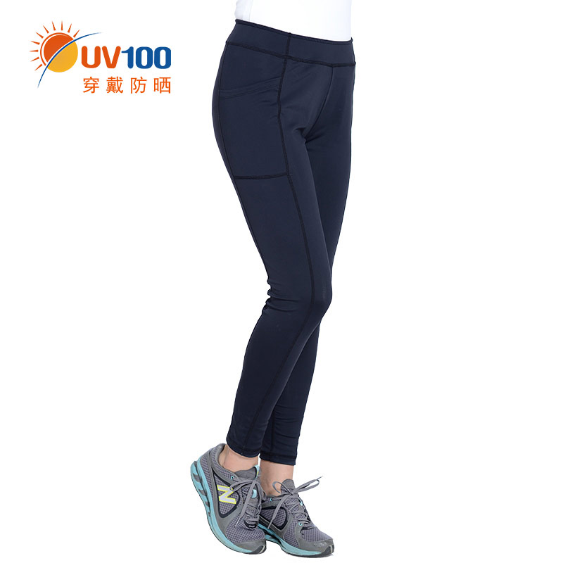 Uv100 tight yoga pants female nine points was thin elastic strength sunscreen breathable running sports trousers summer pants 51253