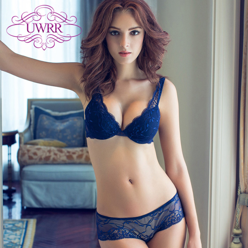 Uwrr 2015 pants low waist lace underwear under thick thin mold cup gather deep v embroidery bra set